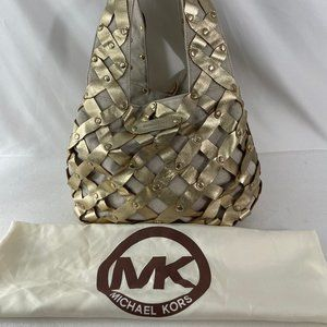 Michael Kors Leather Cotton Shoulder Bag